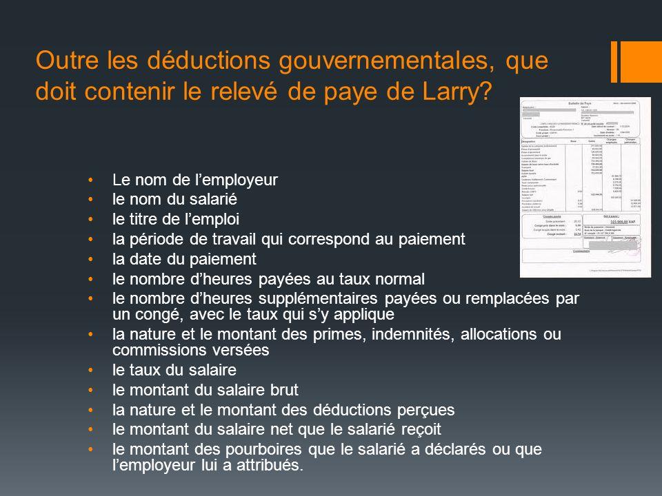 Outre les déductions gouvernementales, que doit contenir le relevé de paye de Larry