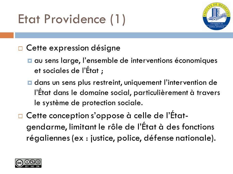 Etat Providence (1) Cette expression désigne
