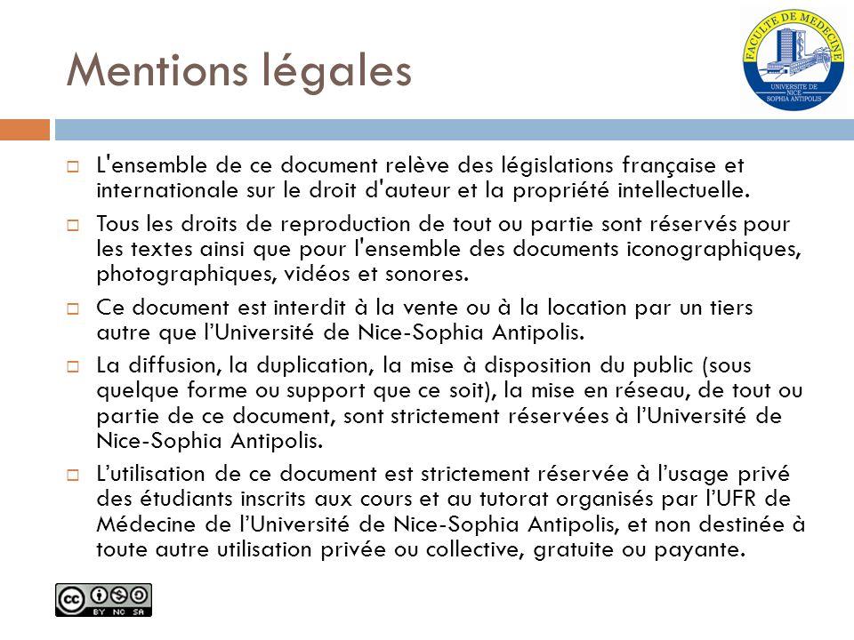 Mentions légales L ensemble de ce document relève des législations française et internationale sur le droit d auteur et la propriété intellectuelle.