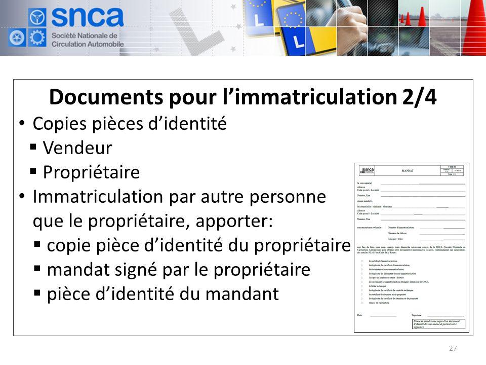 Documents pour l'immatriculation 2/4