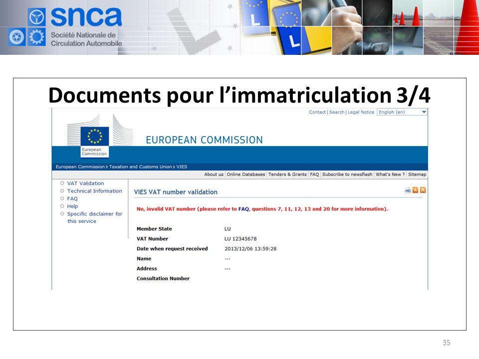 Documents pour l'immatriculation 3/4