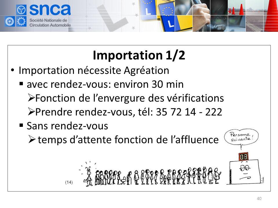 Importation 1/2 Importation nécessite Agréation