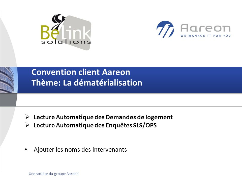 Convention client Aareon Thème: La dématérialisation