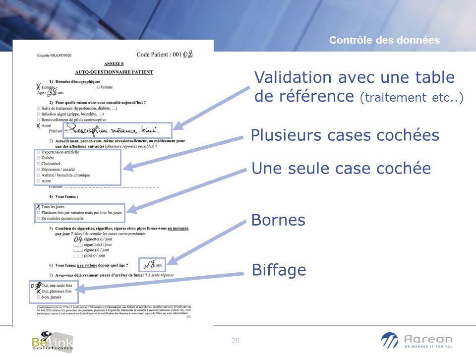 Validation avec une table de référence (traitement etc..)