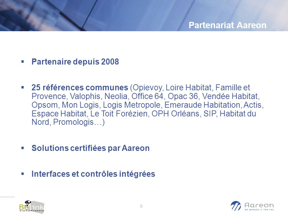 Partenariat Aareon Partenaire depuis 2008