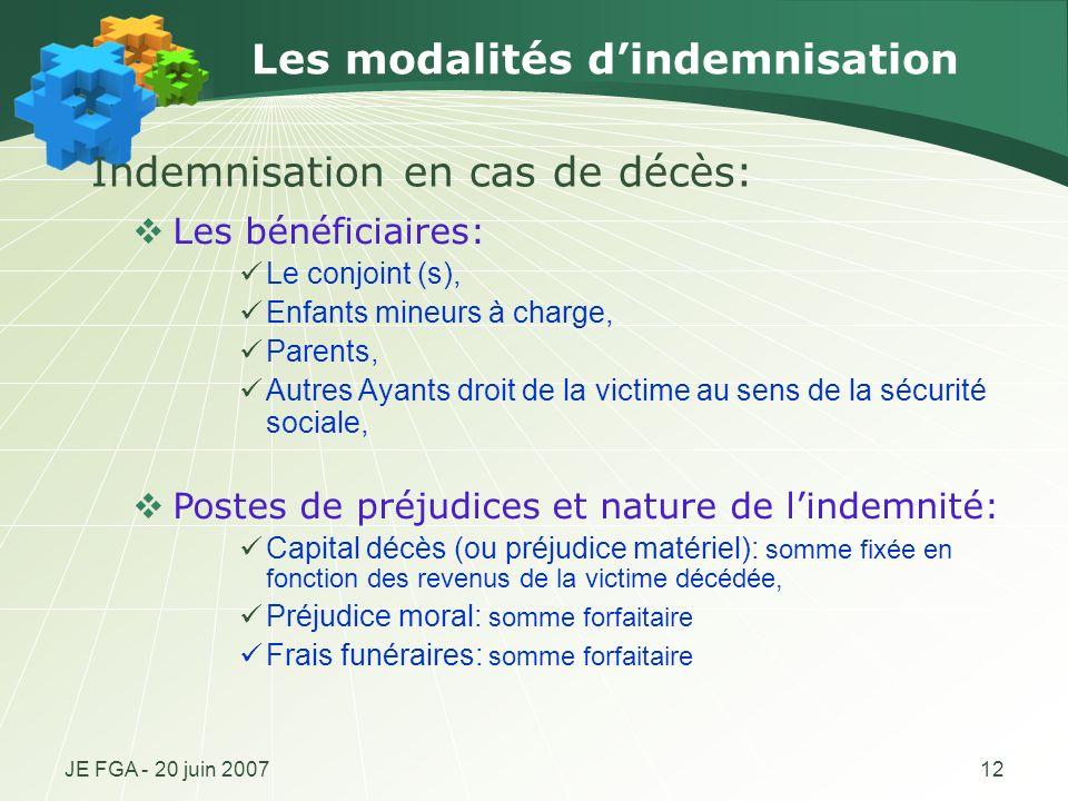 Les modalités d'indemnisation