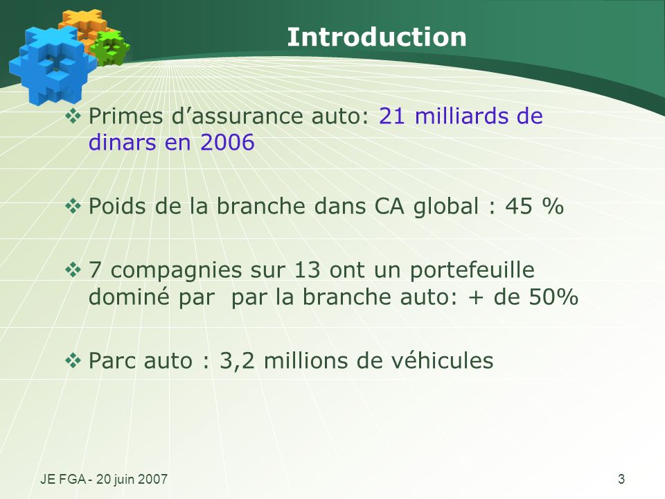 Introduction Primes d'assurance auto: 21 milliards de dinars en 2006