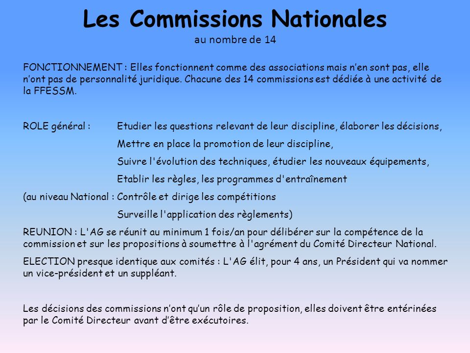 Les Commissions Nationales au nombre de 14