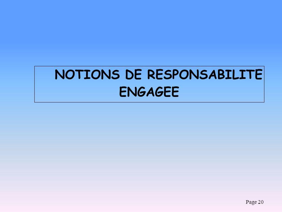 NOTIONS DE RESPONSABILITE