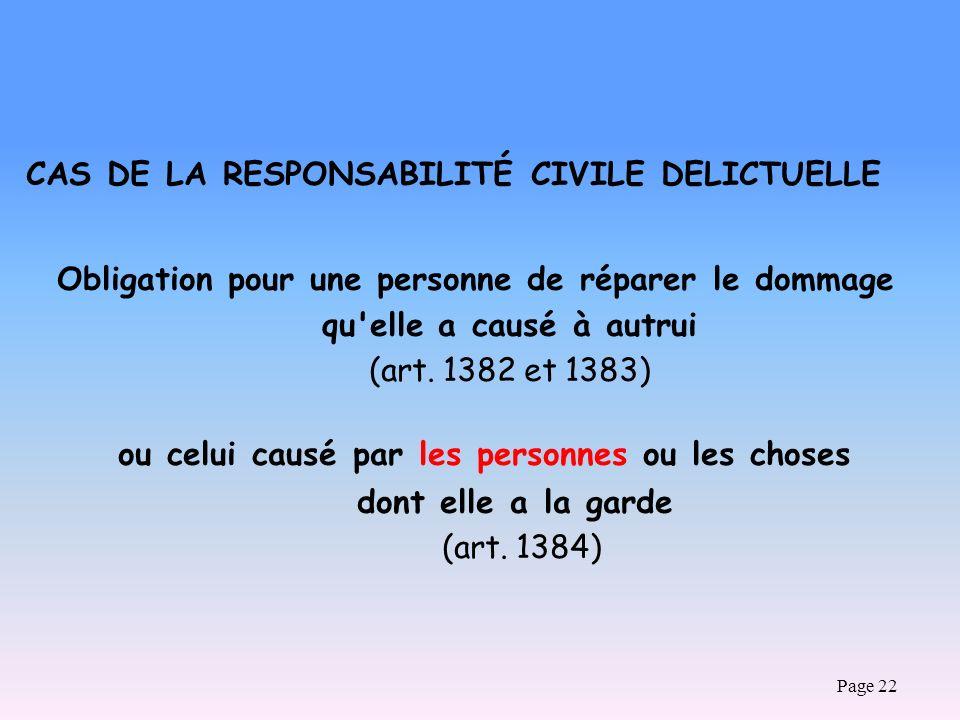 CAS DE LA RESPONSABILITÉ CIVILE DELICTUELLE