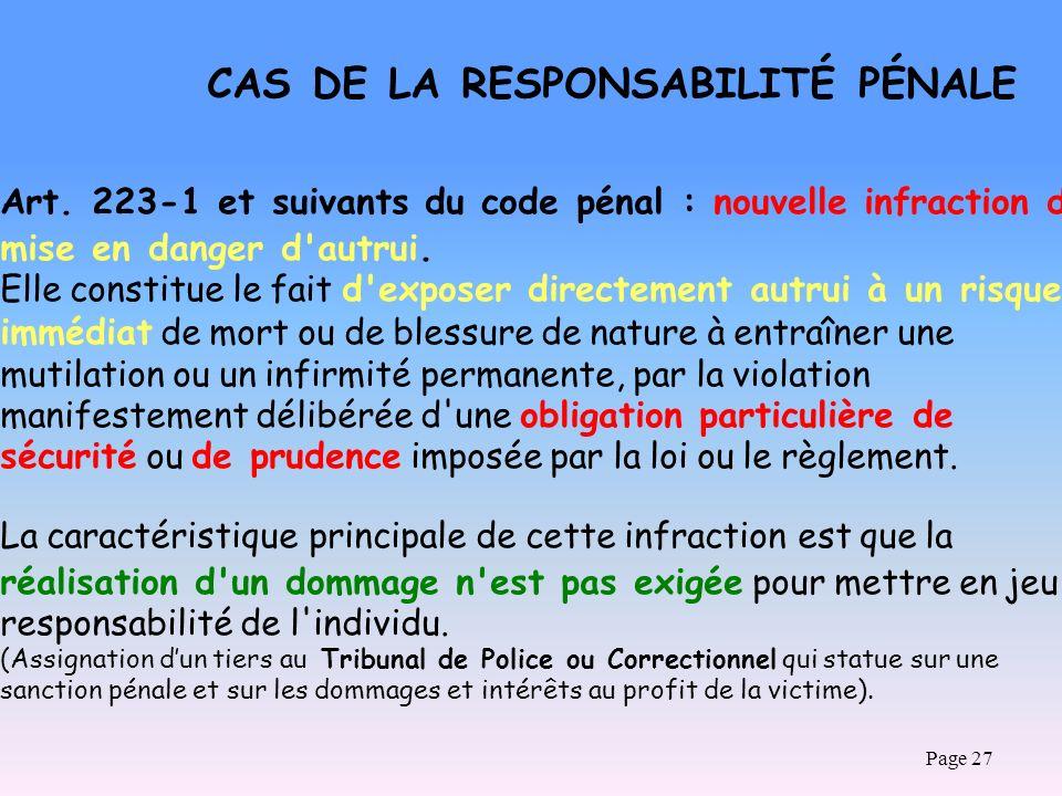 Art. 223-1 et suivants du code pénal : nouvelle infraction de