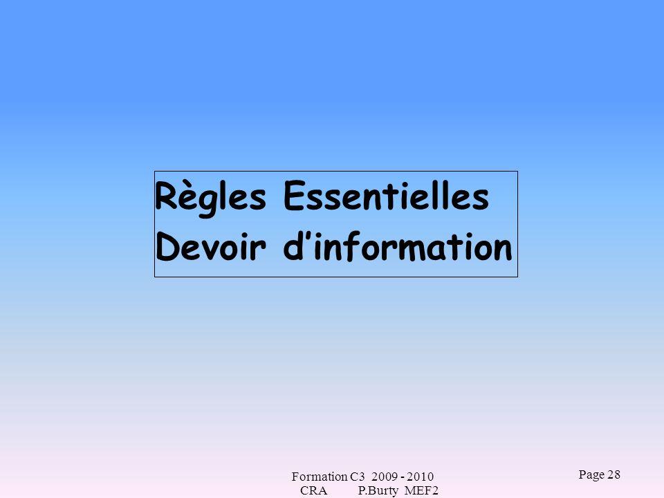 Règles Essentielles Devoir d'information CRA P.Burty MEF2