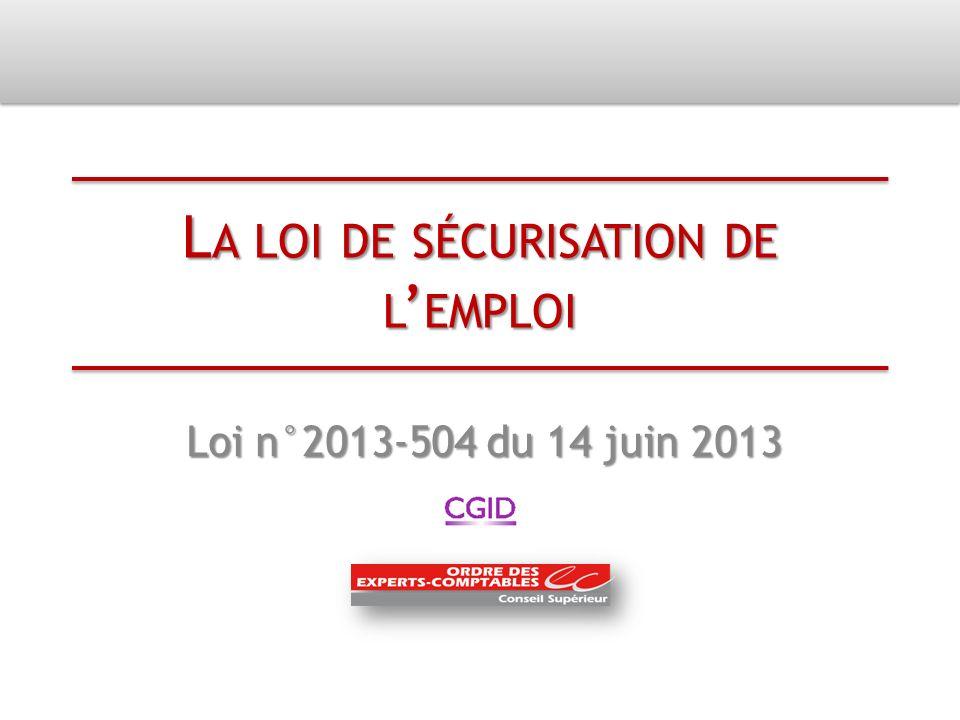 La loi de sécurisation de l'emploi