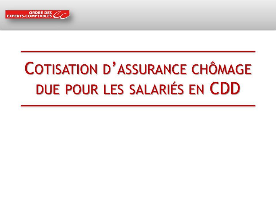 Cotisation d'assurance chômage due pour les salariés en CDD