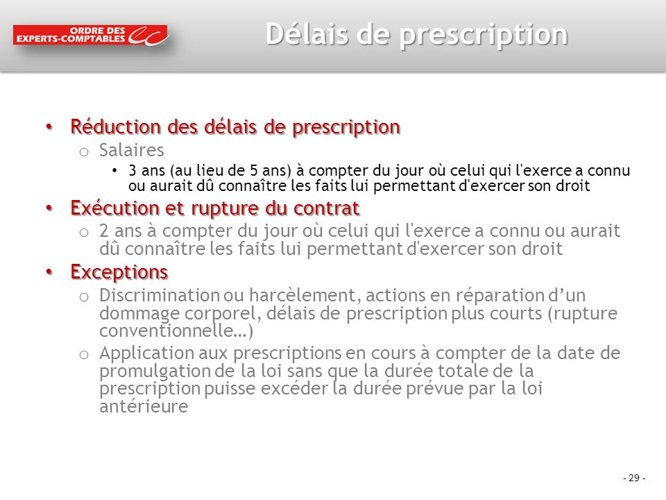 Délais de prescription