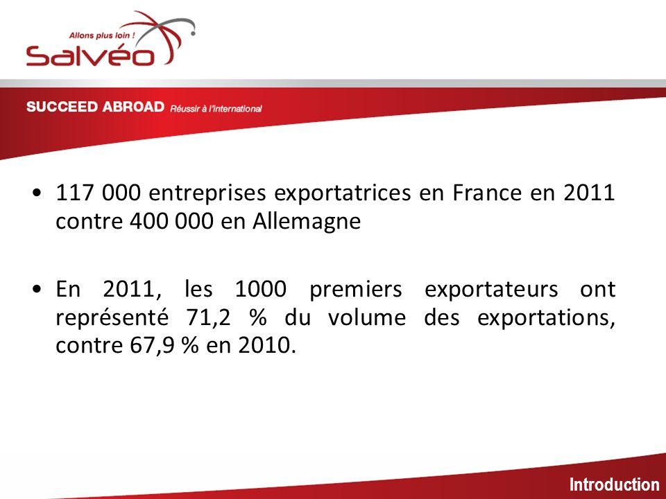 MISSION SECTORIELLE 117 000 entreprises exportatrices en France en 2011 contre 400 000 en Allemagne.
