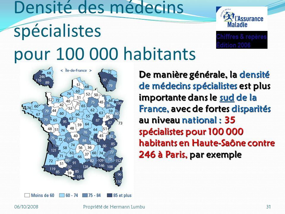 Densité des médecins spécialistes pour 100 000 habitants