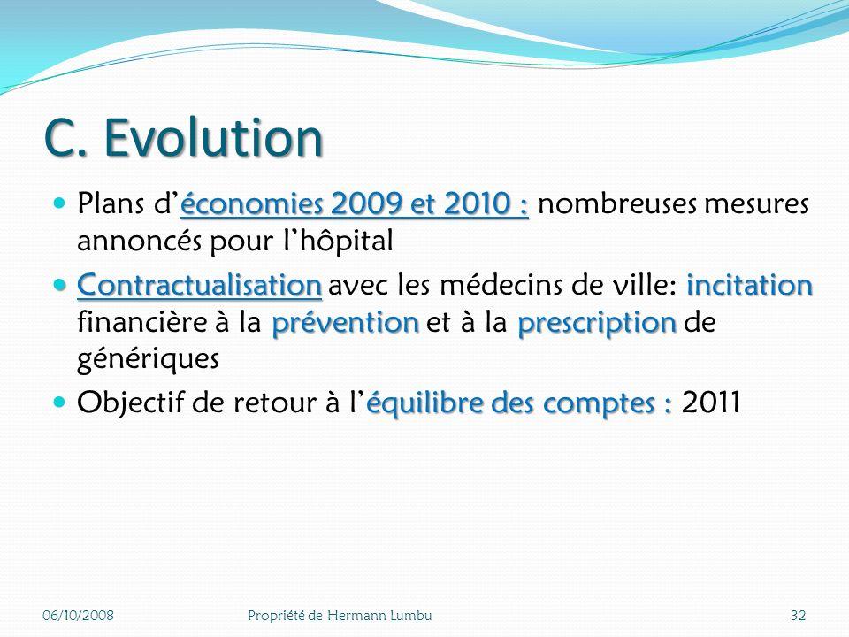 C. Evolution Plans d'économies 2009 et 2010 : nombreuses mesures annoncés pour l'hôpital.