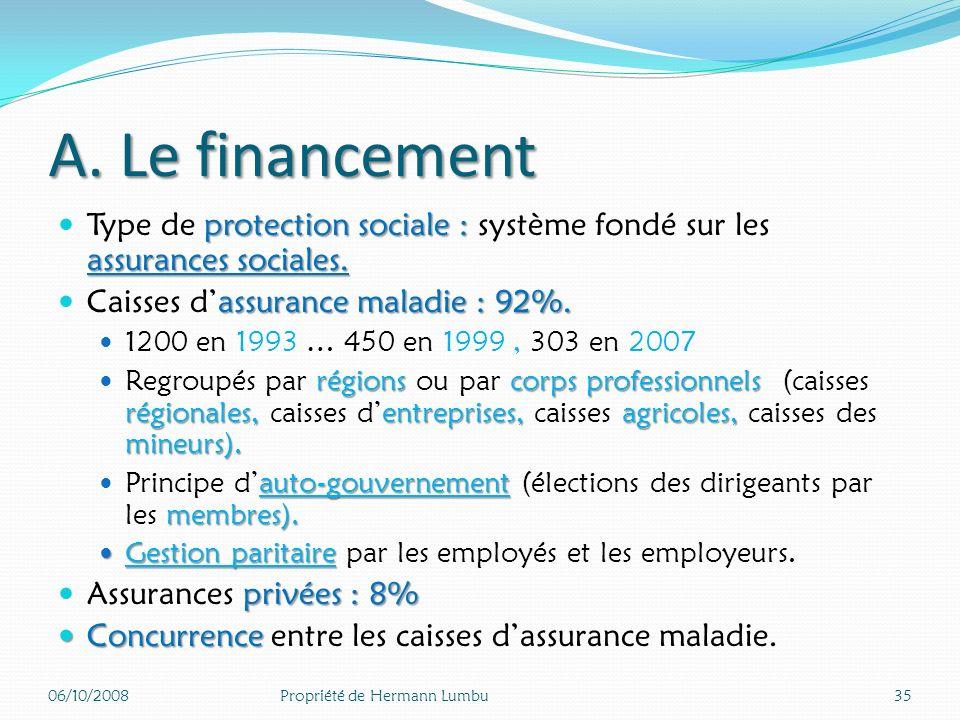A. Le financement Type de protection sociale : système fondé sur les assurances sociales. Caisses d'assurance maladie : 92%.