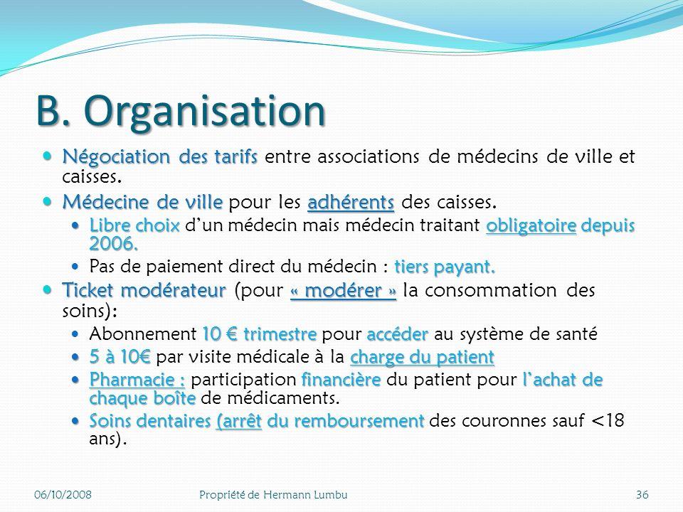 B. Organisation Négociation des tarifs entre associations de médecins de ville et caisses. Médecine de ville pour les adhérents des caisses.