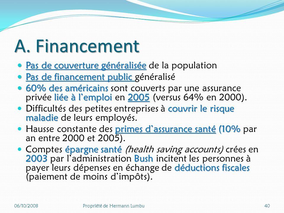 A. Financement Pas de couverture généralisée de la population