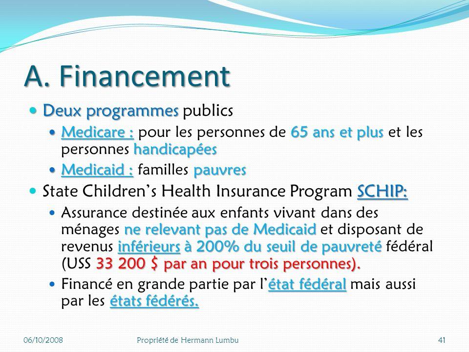 A. Financement Deux programmes publics