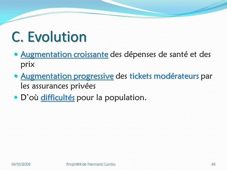 C. Evolution Augmentation croissante des dépenses de santé et des prix