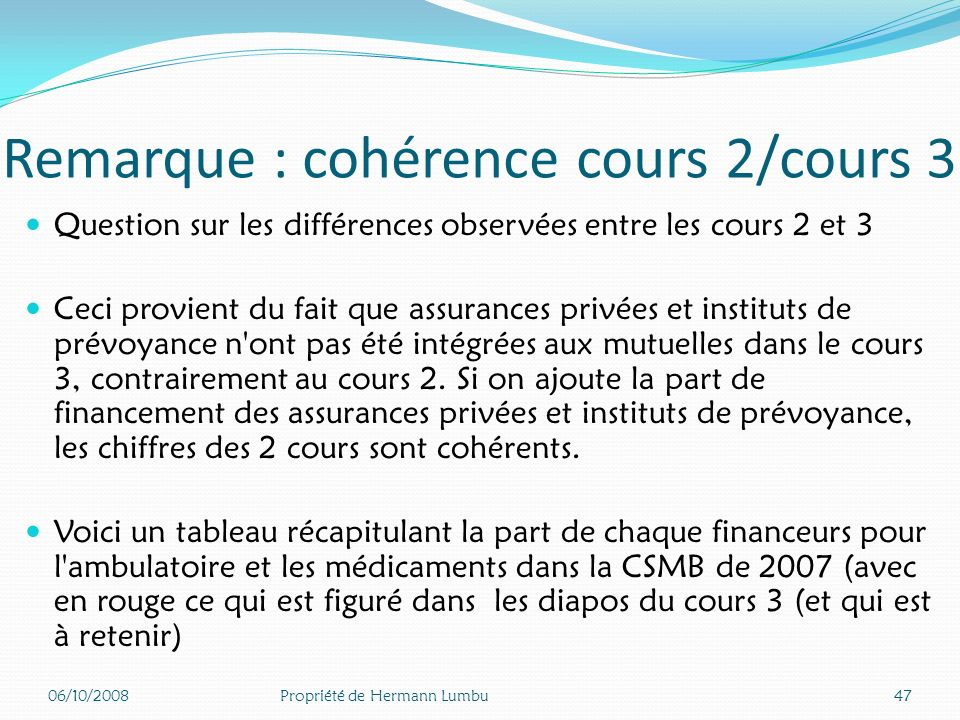 Remarque : cohérence cours 2/cours 3