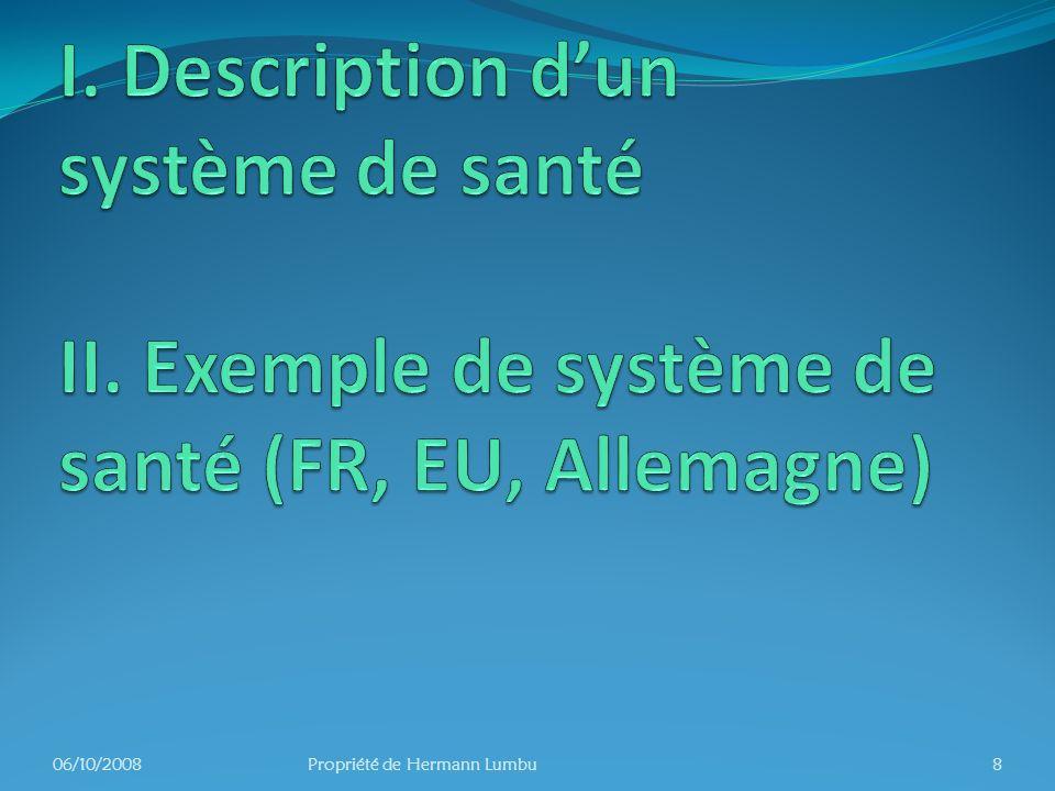 I. Description d'un système de santé II