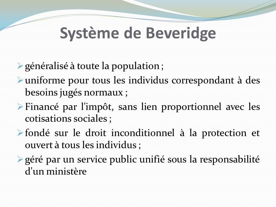 Système de Beveridge généralisé à toute la population ;