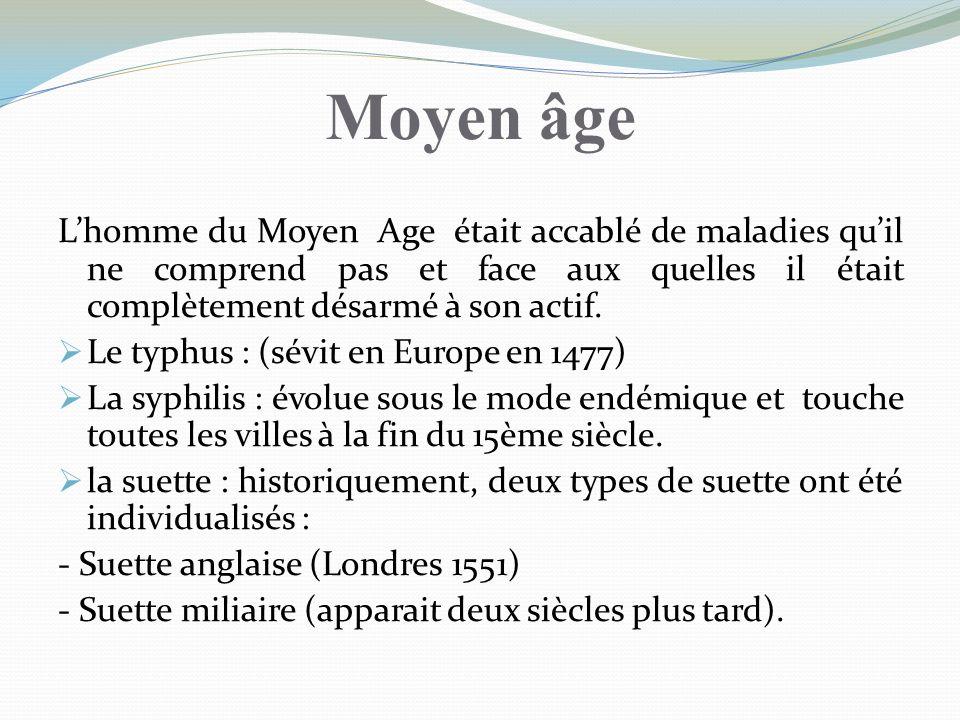 Moyen âgeL'homme du Moyen Age était accablé de maladies qu'il ne comprend pas et face aux quelles il était complètement désarmé à son actif.