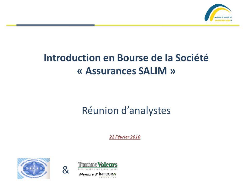 Introduction en Bourse de la Société « Assurances SALIM » Réunion d'analystes