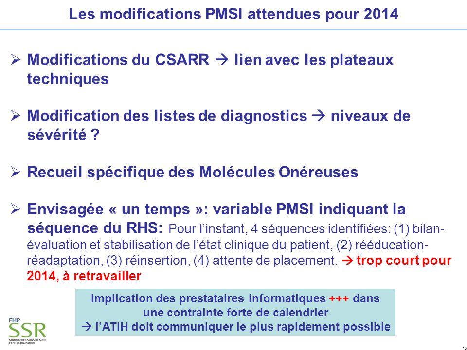 Les modifications PMSI attendues pour 2014