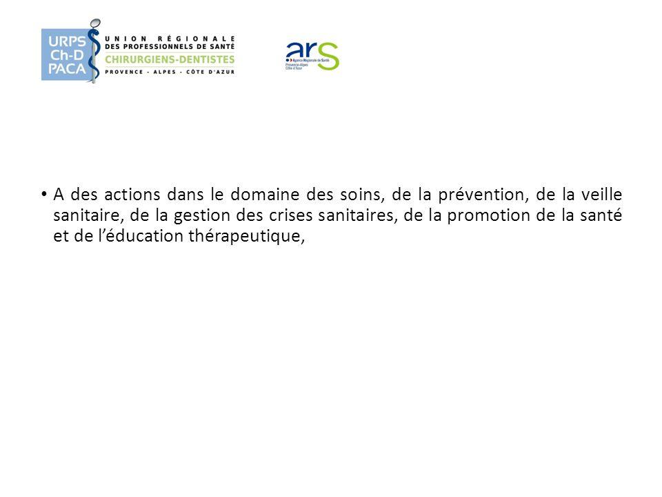 A des actions dans le domaine des soins, de la prévention, de la veille sanitaire, de la gestion des crises sanitaires, de la promotion de la santé et de l'éducation thérapeutique,