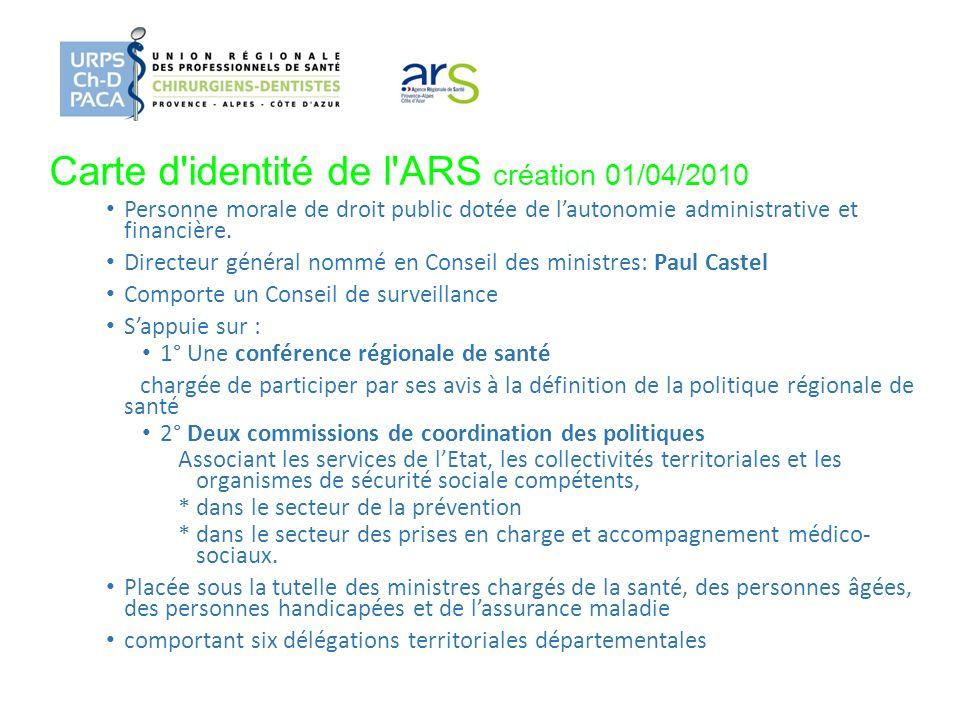 Carte d identité de l ARS création 01/04/2010