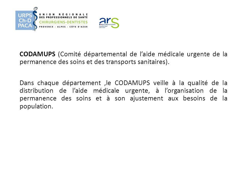 CODAMUPS (Comité départemental de l'aide médicale urgente de la permanence des soins et des transports sanitaires).