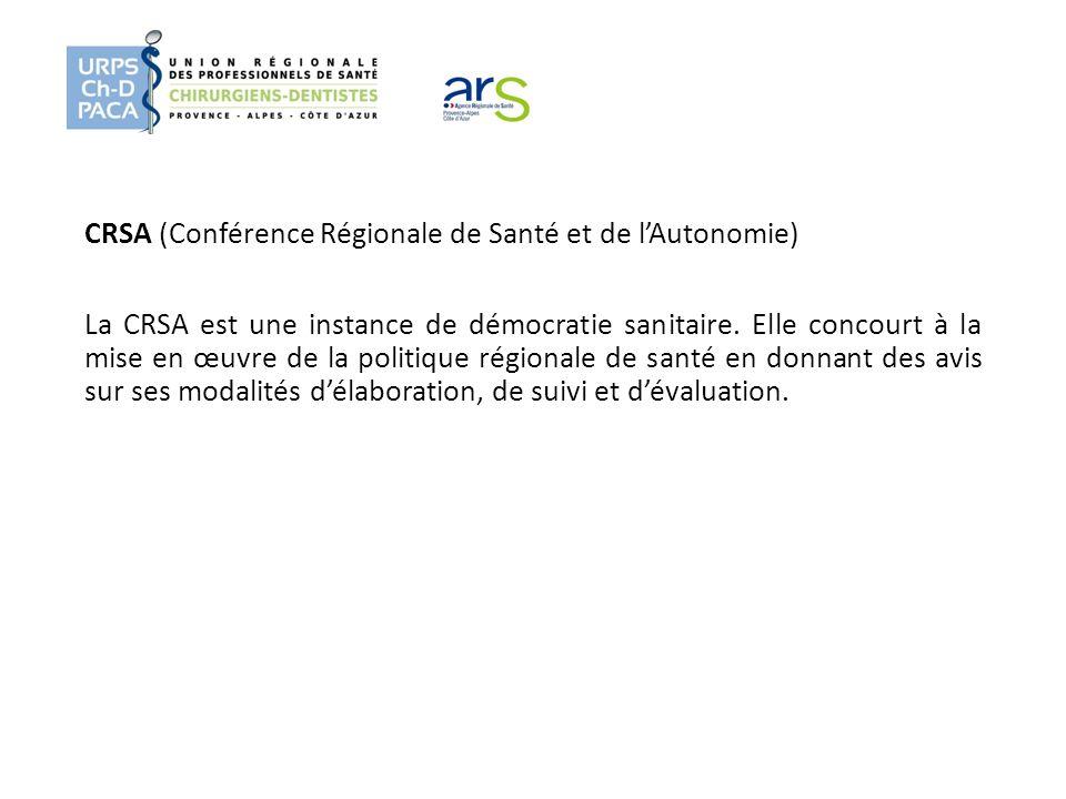 CRSA (Conférence Régionale de Santé et de l'Autonomie) La CRSA est une instance de démocratie sanitaire.