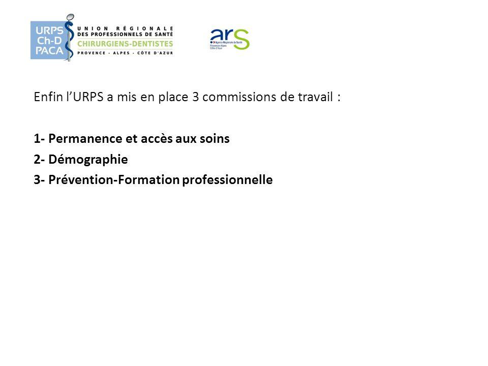 Enfin l'URPS a mis en place 3 commissions de travail :