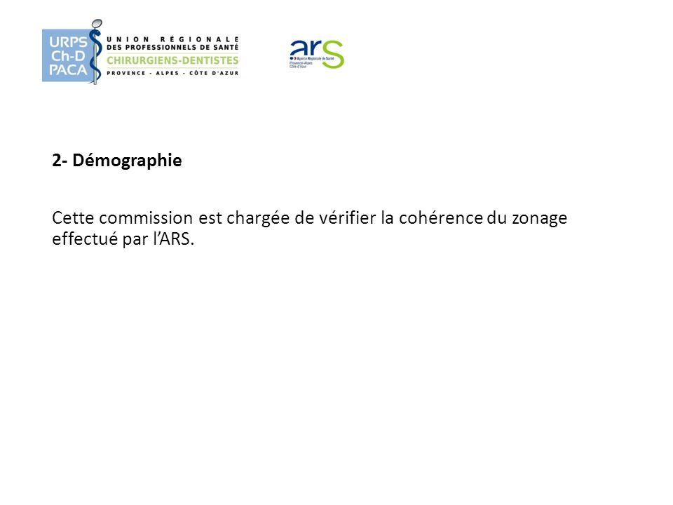 2- Démographie Cette commission est chargée de vérifier la cohérence du zonage effectué par l'ARS.