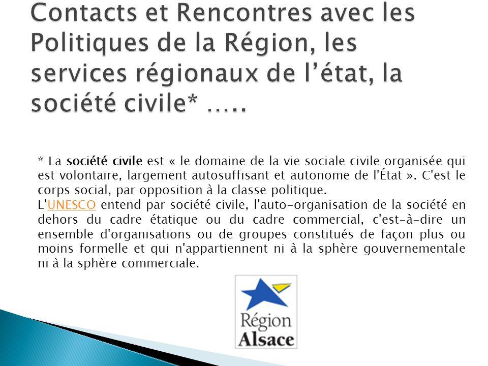 Contacts et Rencontres avec les Politiques de la Région, les services régionaux de l'état, la société civile* …..