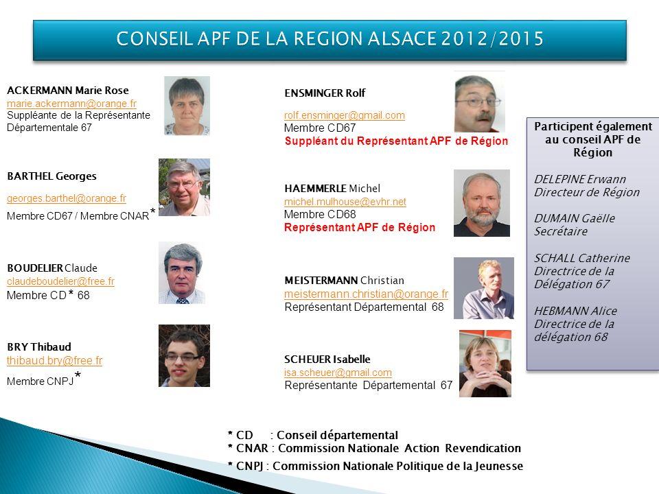 CONSEIL APF DE LA REGION ALSACE 2012/2015