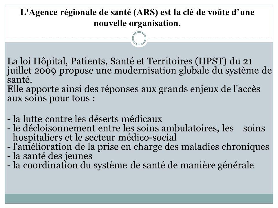 L Agence régionale de santé (ARS) est la clé de voûte d'une nouvelle organisation.