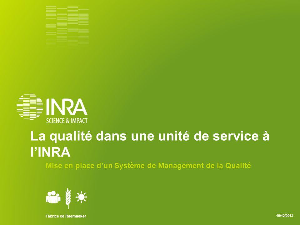 La qualité dans une unité de service à l'INRA