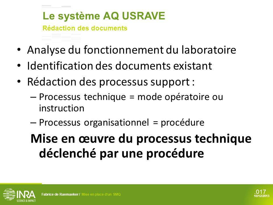 Mise en œuvre du processus technique déclenché par une procédure