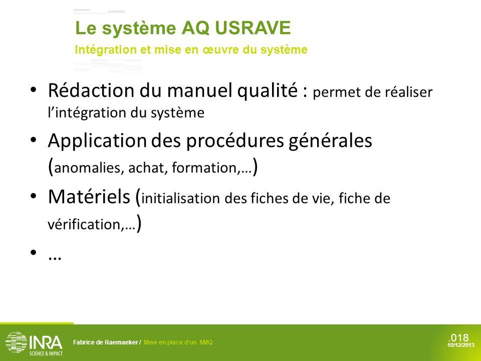 Application des procédures générales (anomalies, achat, formation,…)