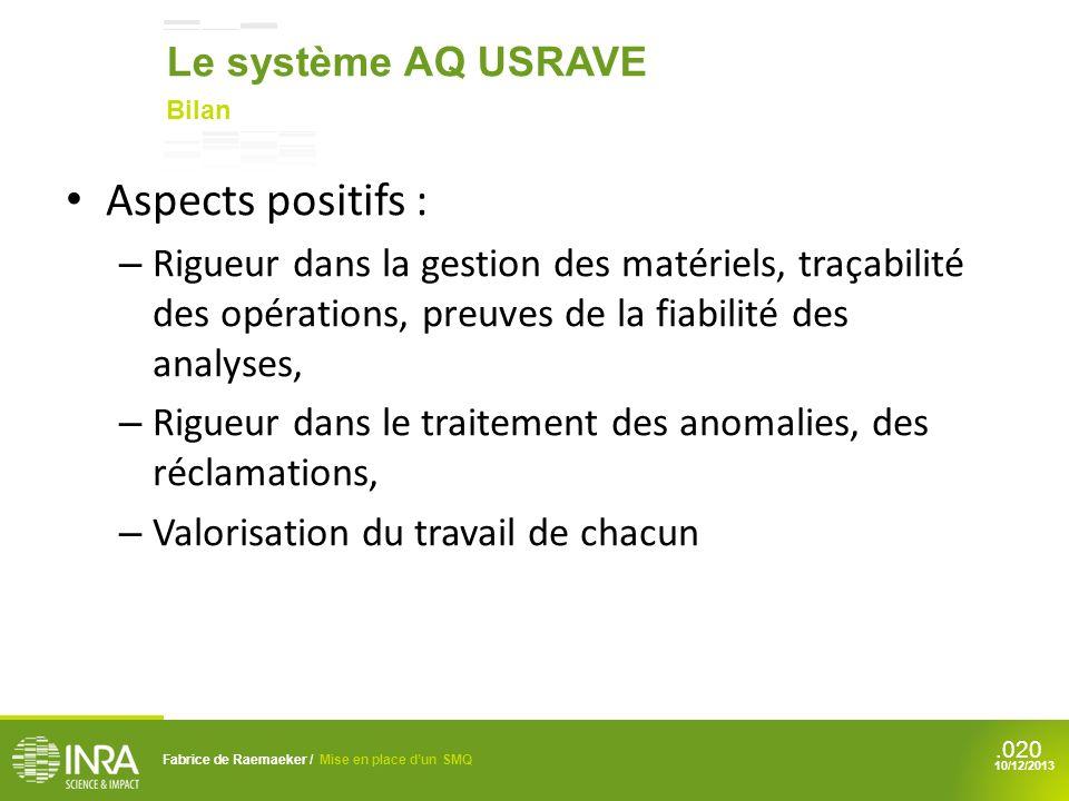 Aspects positifs : Le système AQ USRAVE