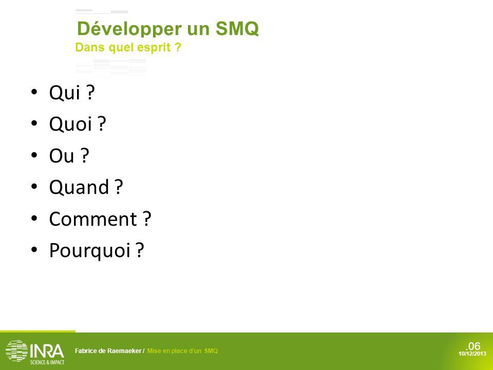 Qui Quoi Ou Quand Comment Pourquoi Développer un SMQ