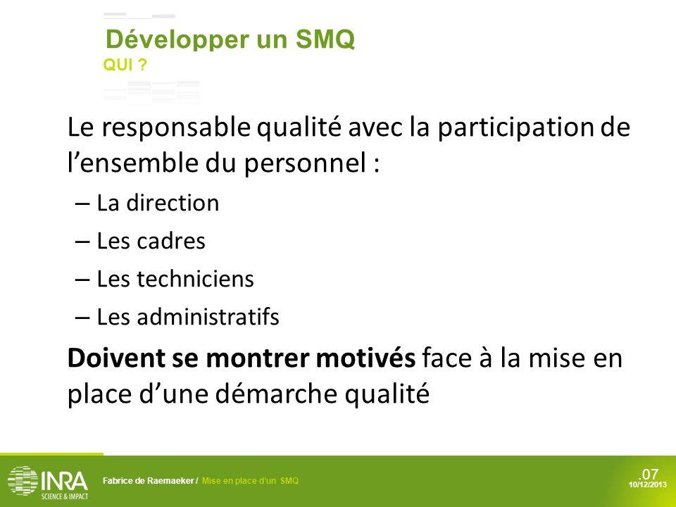 Développer un SMQ QUI Le responsable qualité avec la participation de l'ensemble du personnel : La direction.