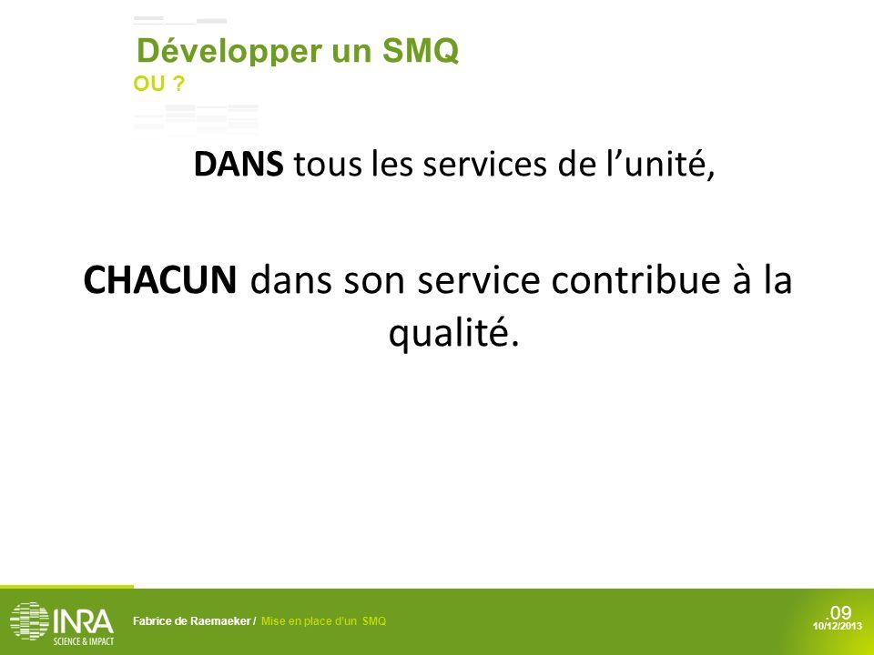 CHACUN dans son service contribue à la qualité.
