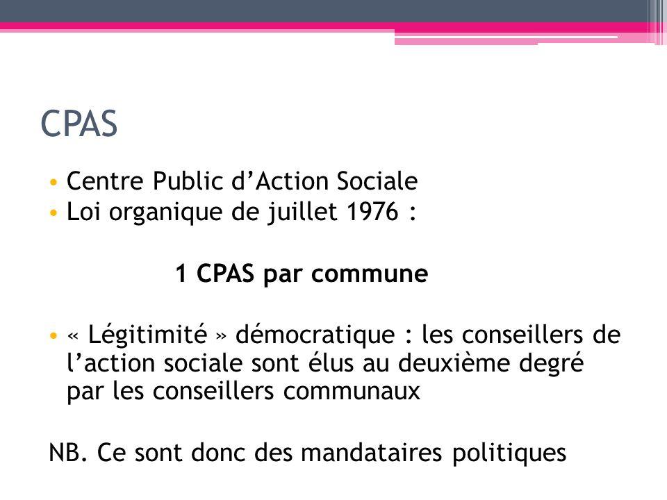 CPAS Centre Public d'Action Sociale Loi organique de juillet 1976 :